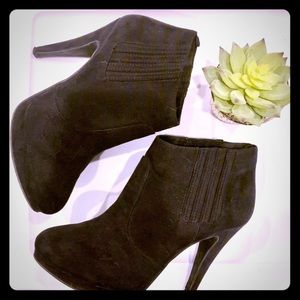 H&M black suede ankle booties